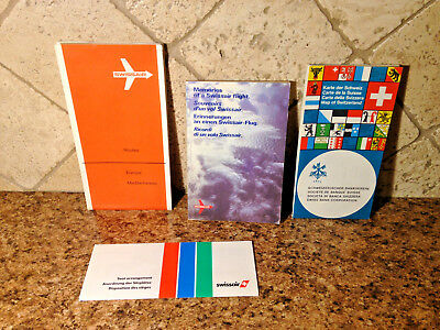 Lot of Swissair Route Map, Booklet, Pamphlet, Collectibles Switzerland