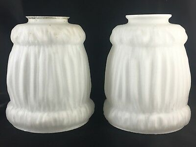 """Pair Two Antique Vintage Milk Glass Sconce Lamp Shades 2"""" Fitter"""