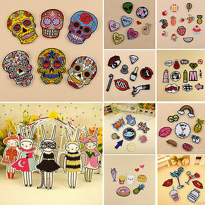 Cute Embroidered Sew On Iron On Patches Set Badge Fabric Applique Craft Transfer