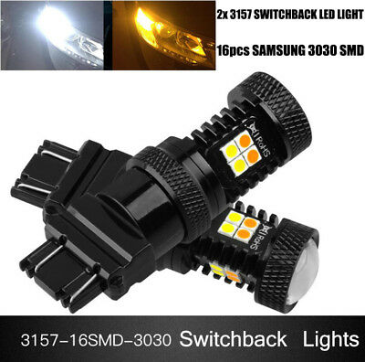 2x 3157 Switchback LED Turn Signal Light 16 SMD Dual Color Car Bulbs Lamps