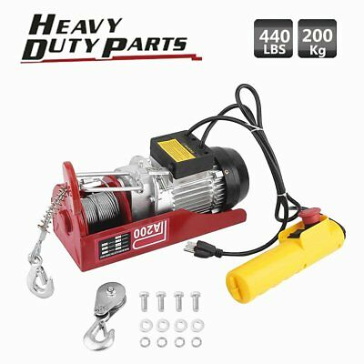 440lbs Mini Electric Wire Hoist Remote Control Garage Auto Shop Overhead Lift MA