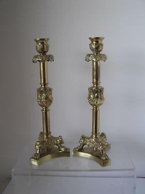 Vintage Belgium Gothic Brass Metal Candlestick Holders Candle Sticks Lion Feet