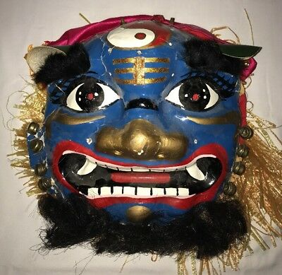 Vintage Chinese Lion Dragon Mask Head Hand Painted Paper Mache