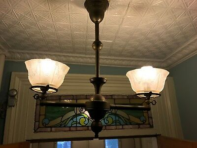 Antique Victorian brass gas/electric chandelier – late1800's
