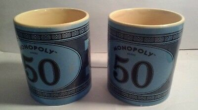 Monopoly Money Coffee Cup Mug Collectible Hasbro Blue Colours lot of 2