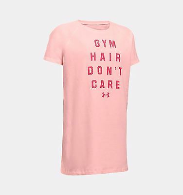 NWT Girls Under Armour Gym Hair Don't Care Short Sleeve Shirt sz YMedium