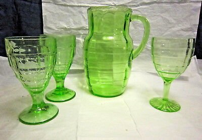 Hocking Glass Block Optic Green Depression Pitcher, 3 Footed Tumblers 1929-1933