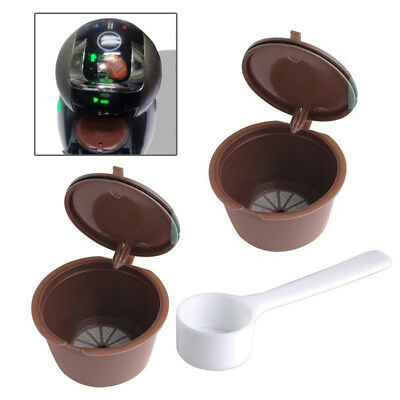 2pcs Refillable Reusable Coffee Capsules Pods for Dolce Gusto Machines W/1 Spoon
