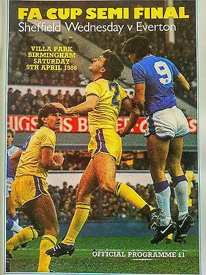 1986 FA Cup Semi Final Sheffield Wednesday v Everton 5th April MINT CONDITION