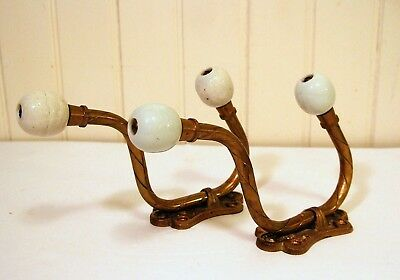 SET Vtg VICTORIAN Antique Style Ornate BRASS Wall Coat Hat Hooks w/ Ceramic Ball