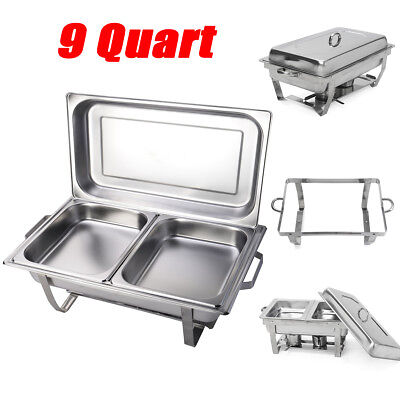Set of 9 Quart Rectangular Chafing Dish Stainless Steel Full Size New
