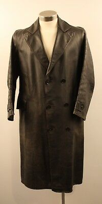 """SIZE 5 MENS ORIGINAL VINTAGE 1940s LEATHER LONG COAT. """" COUNTRY LIFE"""" ADELAIDE."""