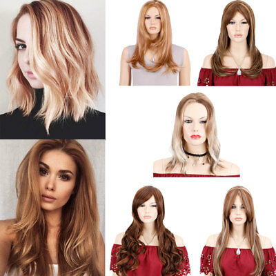 AU Balayage Dip Dye Wigs Layers Brown Blonde Mix Straight Wave Hair Wigs Natural