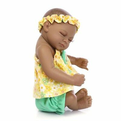 "11"" Mini Black African American Lifelike Reborn Baby Doll Soft Silicone Girl, US"