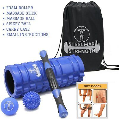 Stick Lacrosse Ball Foam Roller Massage free Exercise Spikey Ball and Carry Case