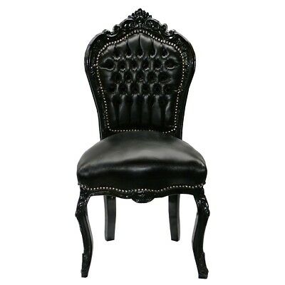 Black leather Baroque dining chair ANNA - with black wood frame