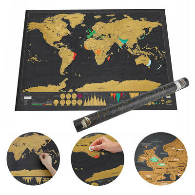 New Deluxe Travel Edition Scraping Off World Map Poster Personalized Journal Log