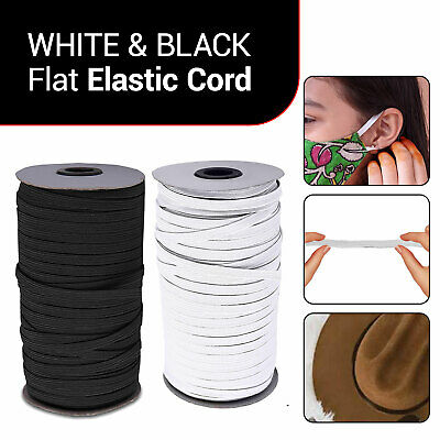 5mm Black & White Elastic Flat Bands for Various Arts & Crafts Clothing Straps