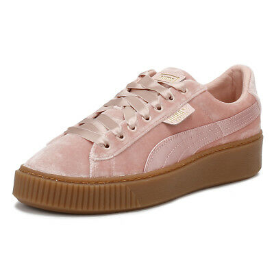 f96439b74152 PUMA Womens Pink Trainers Gum Velvet Basket Platform Lace Up Ladies Shoes