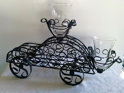 Vintage Retro Black Wrought Iron Candle Chip/Dip Plant Rolling Automobile Caddie