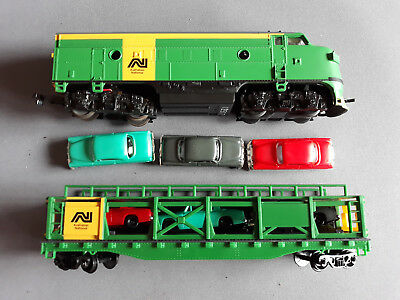 "Life-Like ""an"" F7A With Car Carrier + Cars Very Good Runner Unboxed Ho Gauge(Fn)"