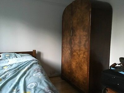 "Art Deco Wardrobe in Walnut Veneer.   48"" x 77"" Curved Top. Plenty of storage."