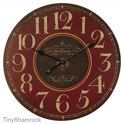"Big Wall Clock French Vintage Style Antique Look 23"" Large Rustic Red Wood Face"