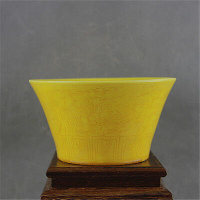 One Beautiful Chinese Ming Yellow Glazed Porcelain Two Phoenix Bowl