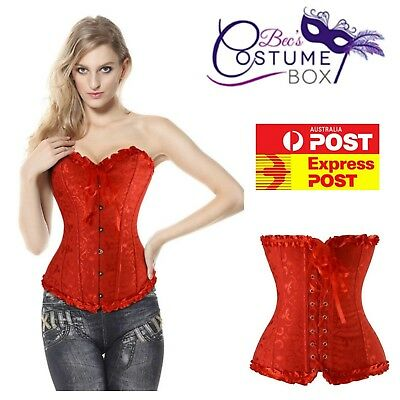 Red Spice Steel Boned Black Corset With Red Floral Overbust Corset