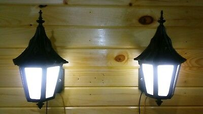 Vintage Witches Hat Porch Lights Cast Aluminum Sconce Opal Pearl Stained Glass
