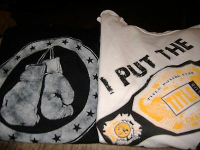 Lot of 2 Tee Shirts TITLE BOXING Men's Size Large - Manly!