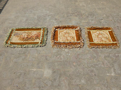 Antique 3 X French 19thC Beautiful Hand Made Aubusson Tapestry/Cushion  (A1253)