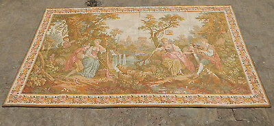 Large Vintage French Beautiful Pastoral Scene JP Tapestry 200X102cm (A1267)