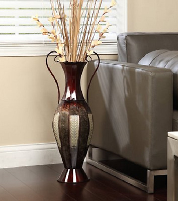 Housewarming Gifts Tall Floor Vases Metal Home Decor Office Silver