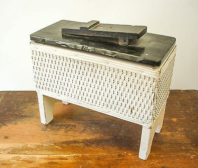 1940s Vintage White Wicker Shoeshine Box / Caddy Primitive Antique Cottage Chic