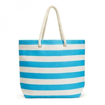 Rope Strap Tote Bag Extra Large Carry All Striped Design