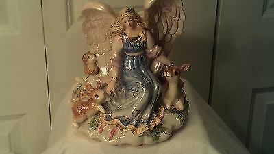"Fitz And Floyd Peaceful Kingdom Angel Holds 3"" Pillar Candle"