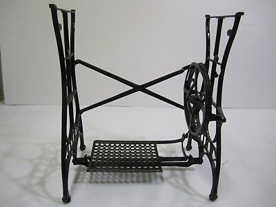 Antique Black Cast Iron Heavy Duty WHITE Sewing-Machine Base Treadle Table LQQK!