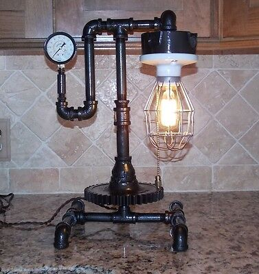 Steampunk Lamp Light Vintage Antique Industrial Machine Age Edison With Bulbs