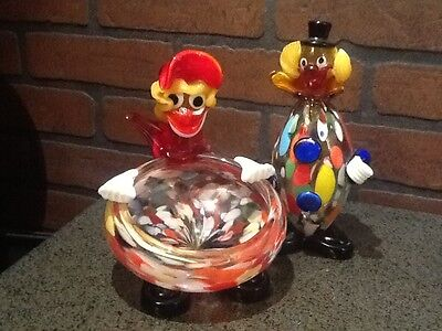 Set of 2 Vintage Murano Clown's