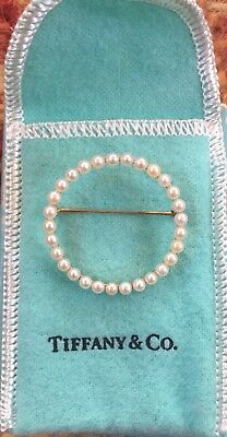 SALE! 14k antique TIFFANY & Co Seed Pearl circle brooch pin NUMBERED RARE