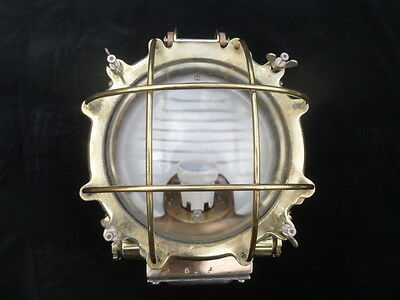 Brass & Bronze Round Ships Passageway Wall Or Ceiling Light, Stunning And Rare