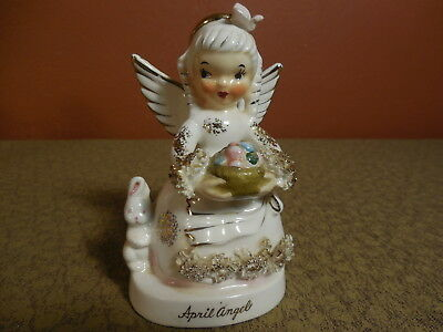 Vintage NAPCO Ceramic April Easter Angel Girl w Bunny A1364 Japan