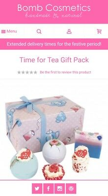 Bomb Cosmetics Time For Tea Handmade Gift Pack Bath Bombs Soap BNAS Sealed