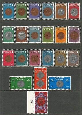 Guernsey 1979-81 Local Coins defs--Attractive Topical (173-88/199-203A) MNH