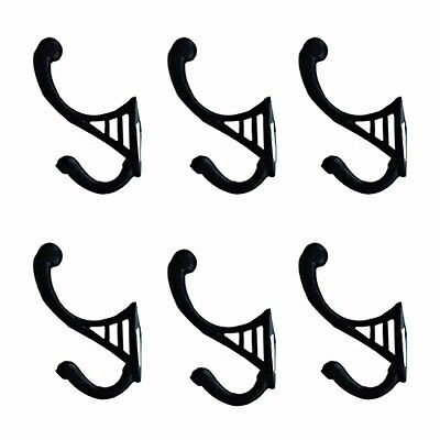 """6 Black Wrought Iron Hook RSF 4 1/2"""" H X 2 3/4"""" Projection 