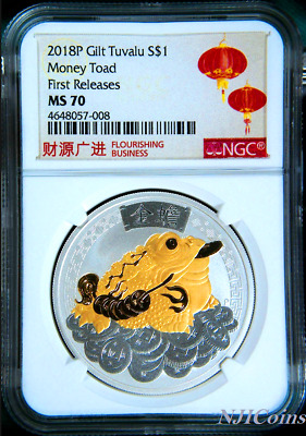 2018 TUVALU MONEY TOAD SILVER GILT w/ 24k gold $1 1oz COIN NGC MS 70 GILDED