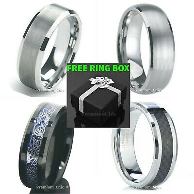 Tungsten Carbide Ring Mens Engagement Wedding Band Silver Black Rose Gold Celtic