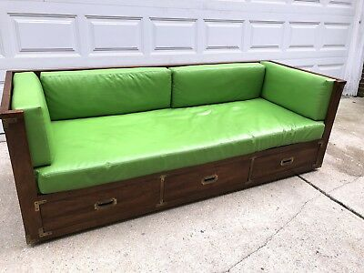Mid Century Modern Sofa Daybed Couch Bed Campaign Style Wood Brass Vintage