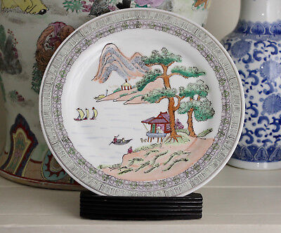 A Fine Hand Coloured Chinese Republic Period Plate, Red Seal Mark
